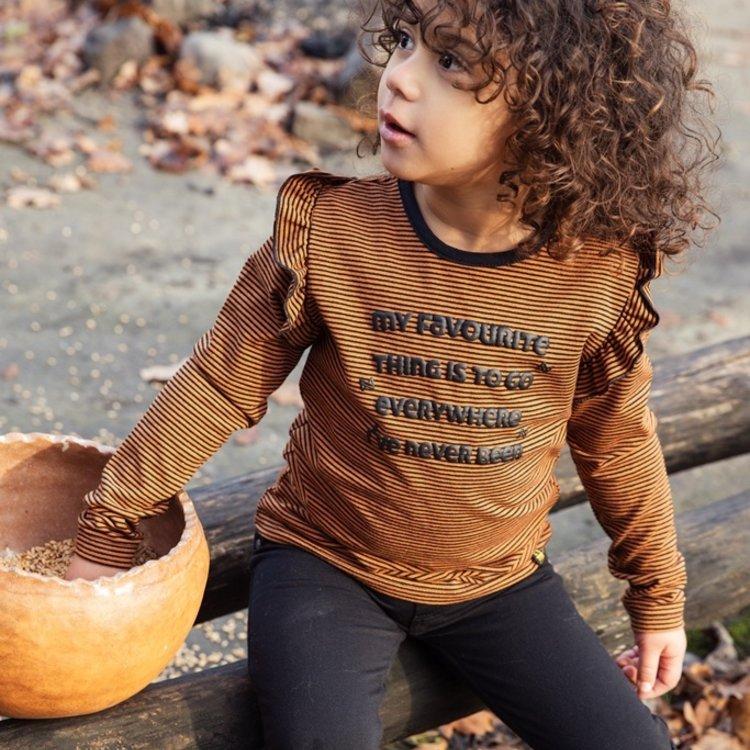 Koko Noko girls shirt rust brown striped with ruffles | F40983-37