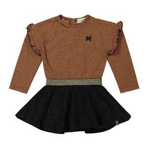 Koko Noko girls dress rust brown black