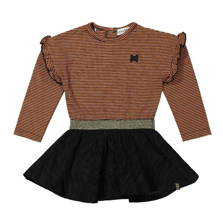 Koko Noko meisjes jurk roest bruin zwart | F40985-37