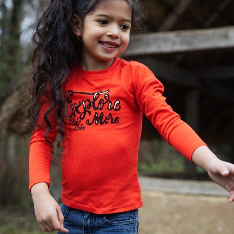 Koko Noko meisjes shirt rood   F40986-37