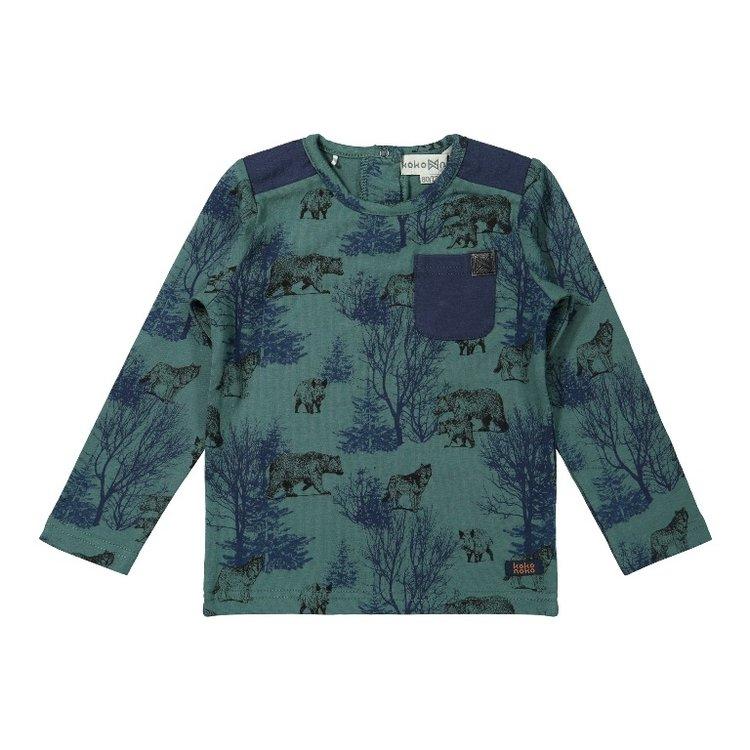 Koko Noko jongens shirt groen blauw   F40800-37