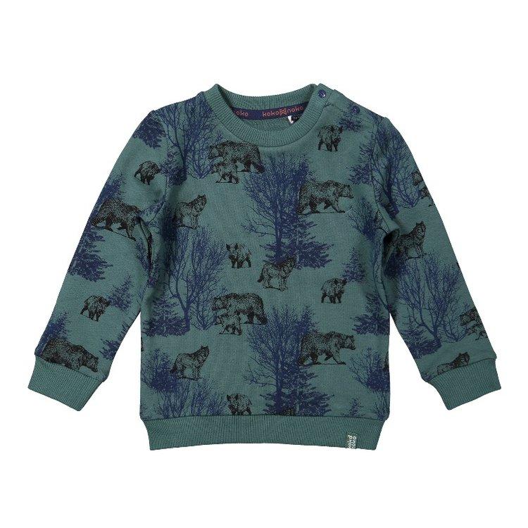 Koko Noko jongens sweater groen | F40803-37