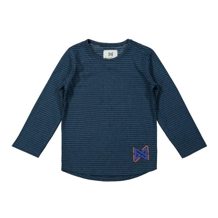Koko Noko jongens shirt groen blauw gestreept | F40808-37