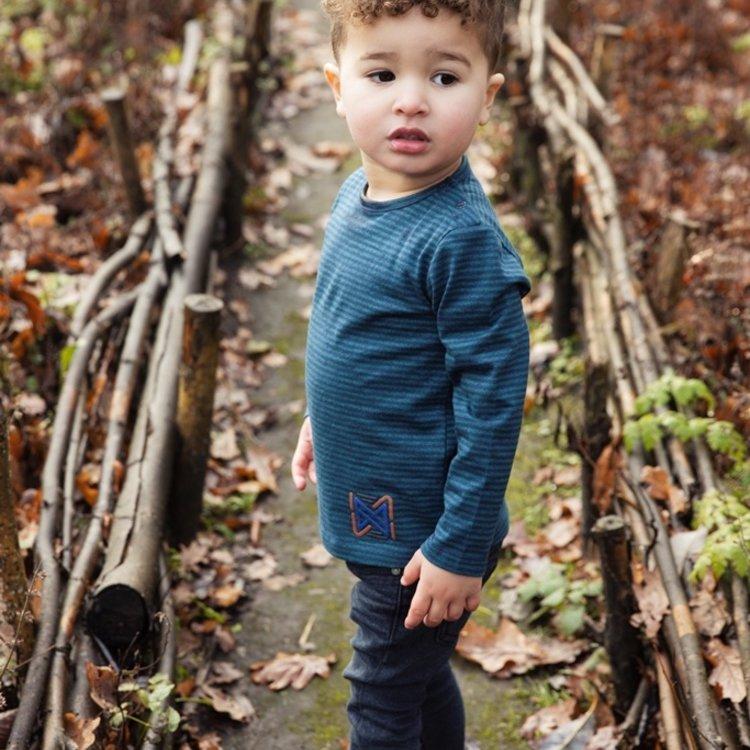 Koko Noko boys shirt green blue striped | F40808-37