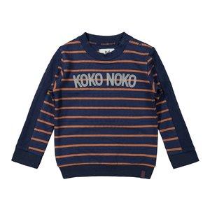 Koko Noko jongens sweater donkerblauw camel gestreept