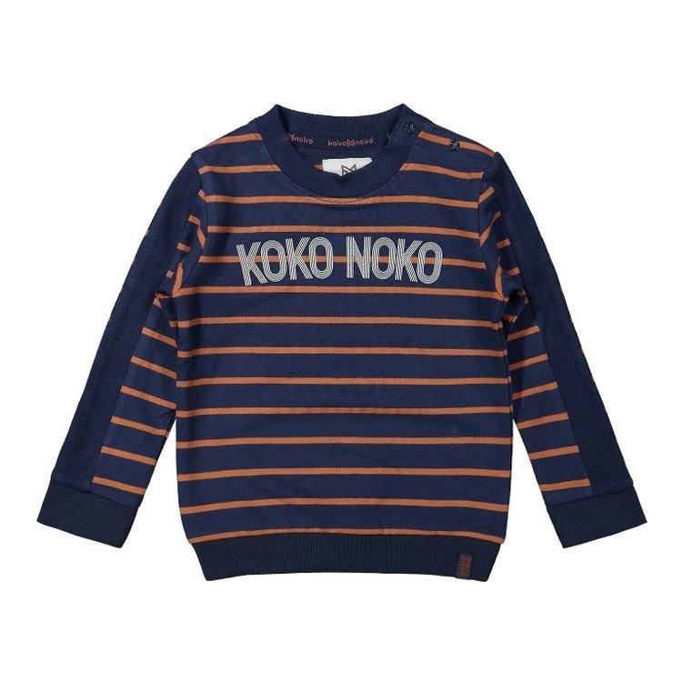Koko Noko jongens sweater donkerblauw camel gestreept   F40818-37