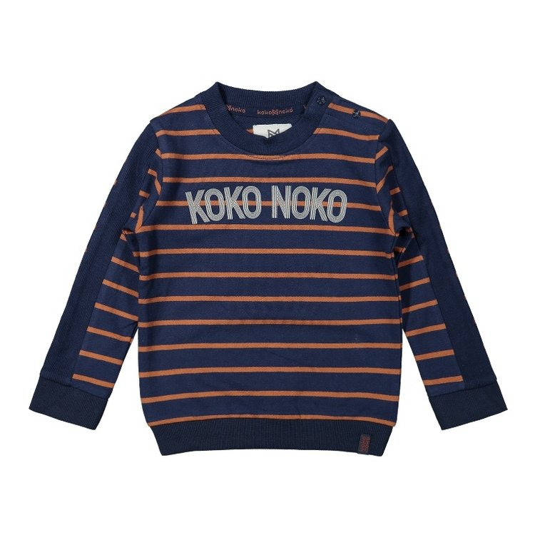 Koko Noko Jungen Pullover dunkelblau camel gestreift | F40818-37