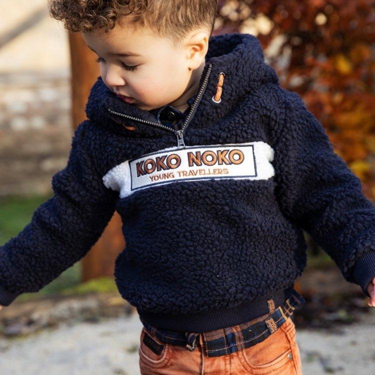 Koko Noko jongens trui donkerblauw borg | F40822-37