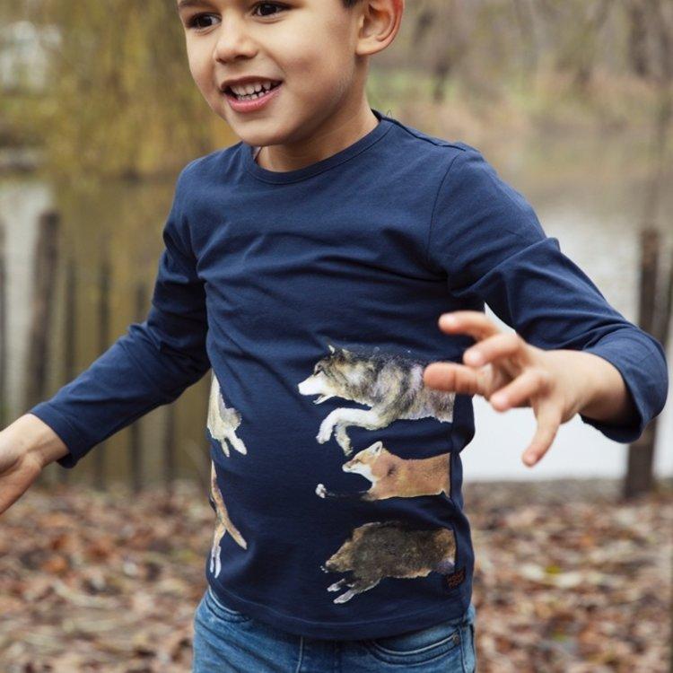 Koko Noko jongens shirt donkerblauw dieren | F40826-37