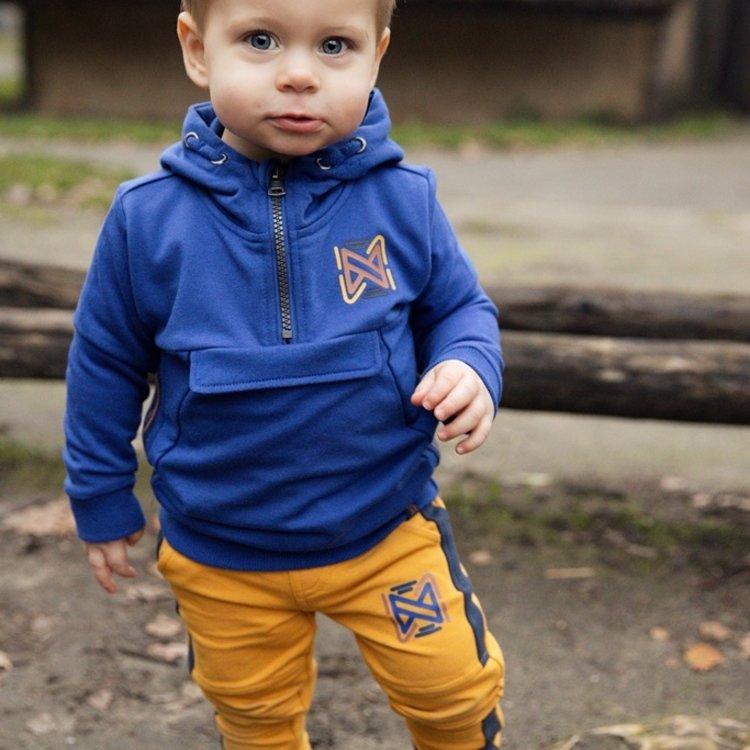 Koko Noko jongens sweater kobaltblauw met capuchon | F40829-37