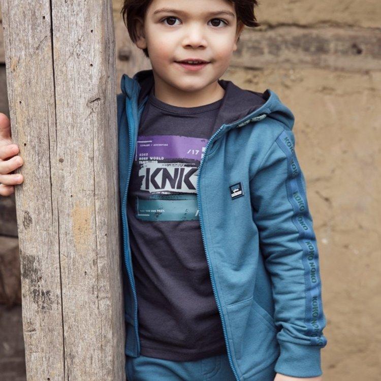 Koko Noko jongens vest petrol met capuchon | F40841-37