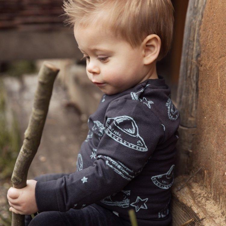 Koko Noko jongens sweater donkergrijs planeten   F40848-37