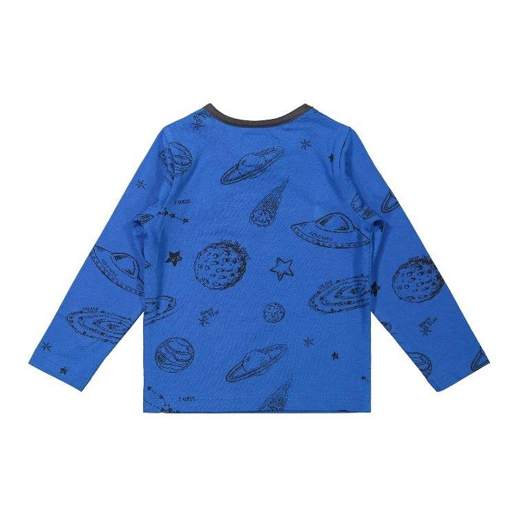 Koko Noko jongens shirt blauw planeten   F40860-37