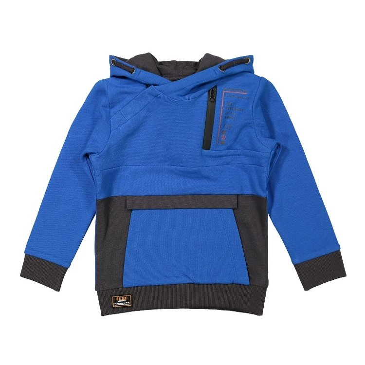 Koko Noko Jungen Pullover kobaltblau grau mit Kapuze | F40863-37