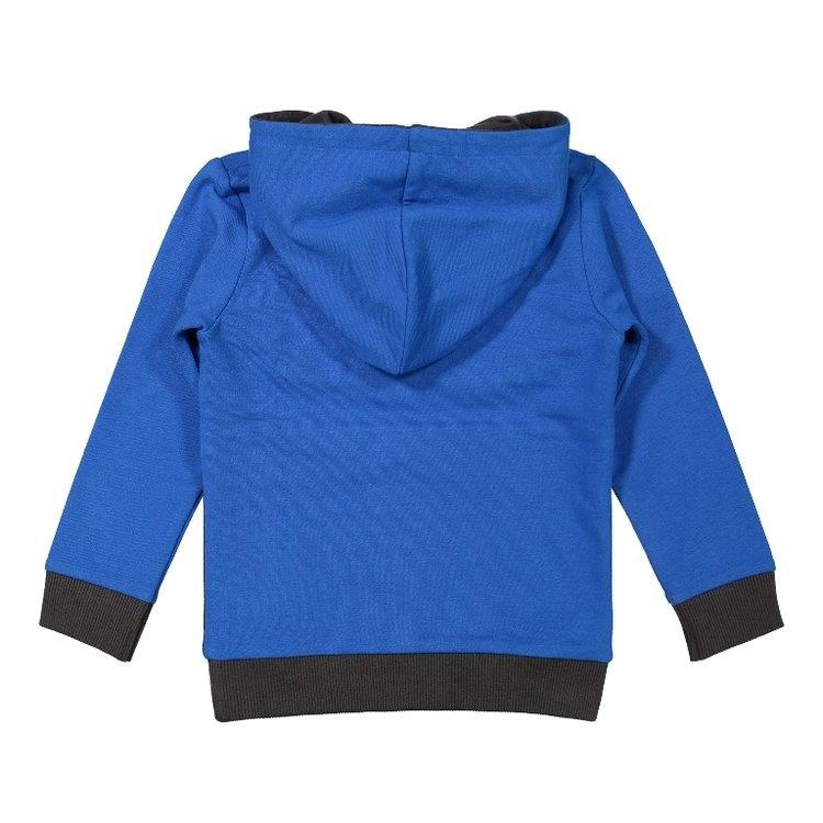 Koko Noko jongens sweater kobaltblauw grijs met capuchon | F40863-37