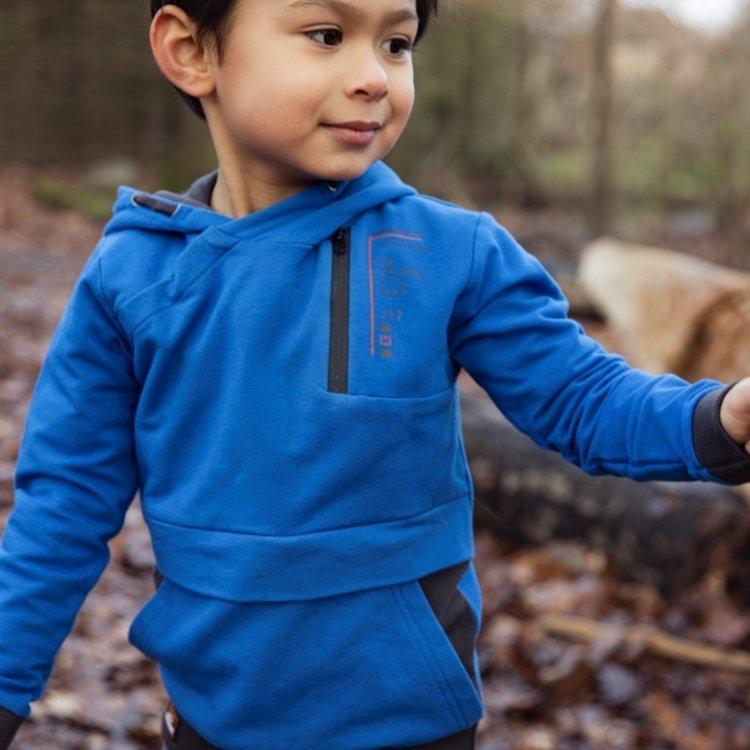 Koko Noko boys sweater cobalt blue grey with hood | F40863-37