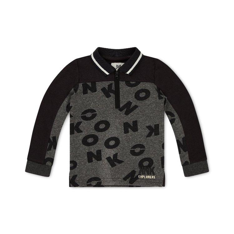 Koko Noko boys polo sweater gray with letters   F40864-37