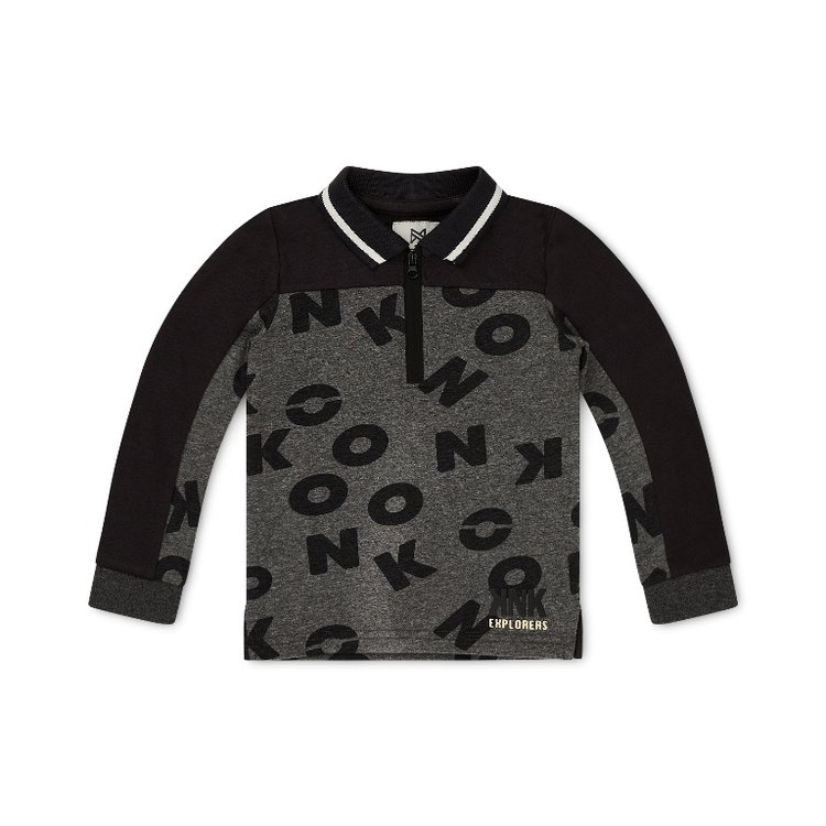 Koko Noko jongens polo trui grijs met letters   F40864-37