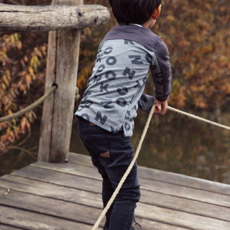 Koko Noko Jungen Polopullover grau mit Buchstaben | F40864-37