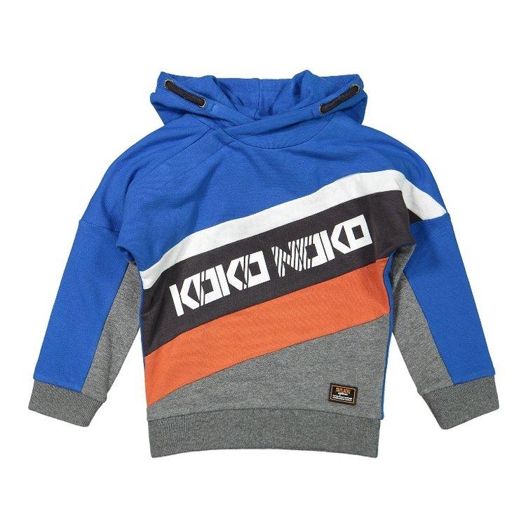 Koko Noko jongens sweater met capuchon kobaltblauw grijs | F40865-37