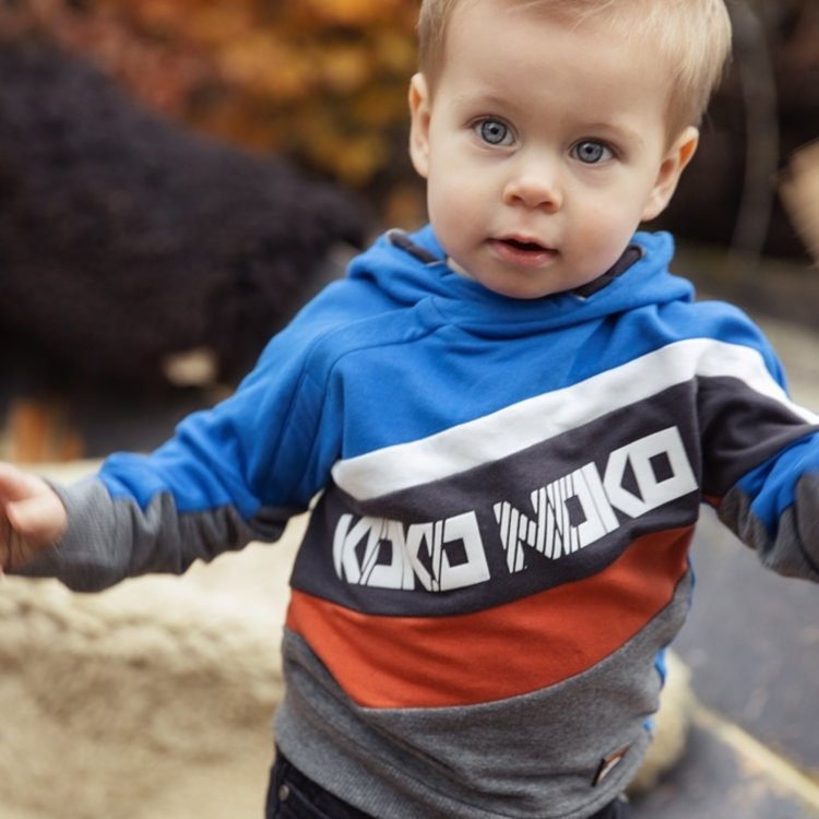 Koko Noko Jungen Kapuzenpullover kobaltblau grau | F40865-37