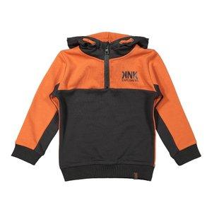 Koko Noko jongens sweater oranje donkergrijs met capuchon