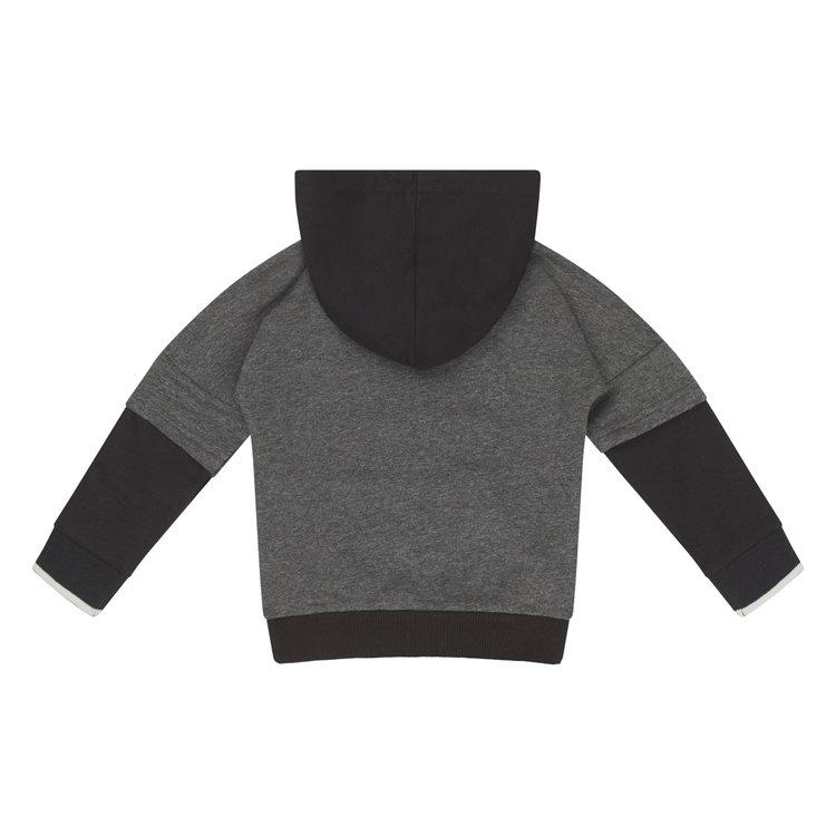 Koko Noko boys sweater gray black with hood   F40870-37