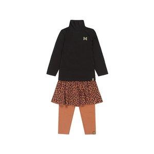 Koko Noko meisjes 3-delige set zwart camel panter