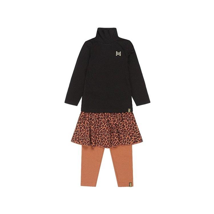 Koko Noko meisjes 3-delige set zwart camel panter   F40995-37