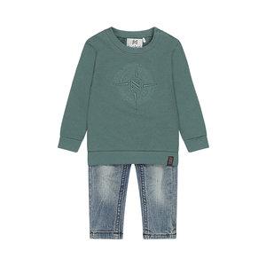 Koko Noko boys 2-piece set jumper green with blue jeans