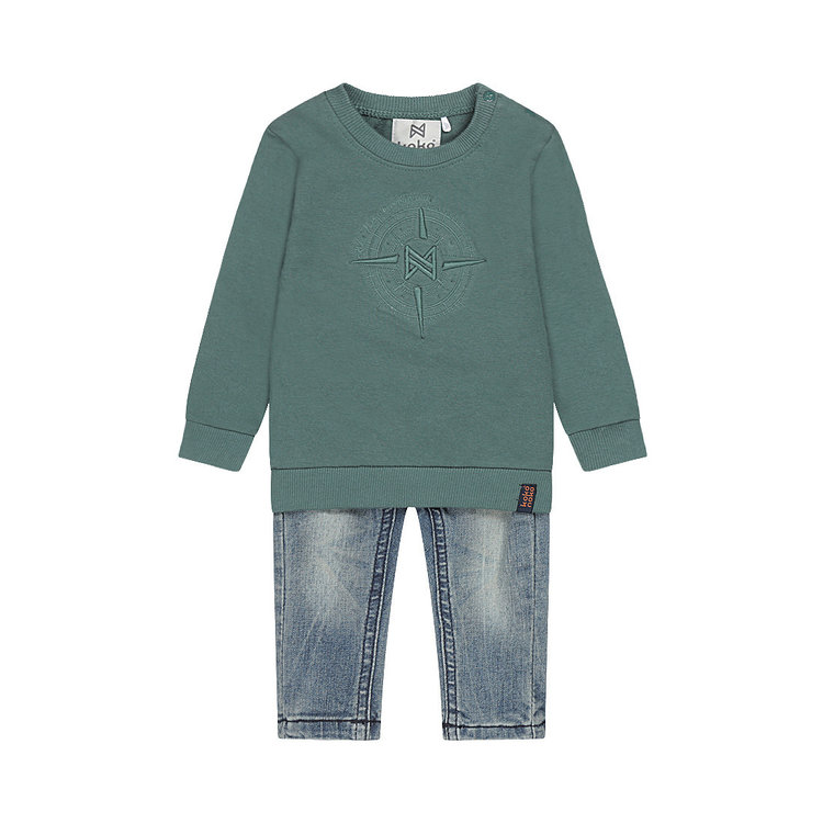 Koko Noko boys 2-piece set jumper green with blue jeans | F40877-37
