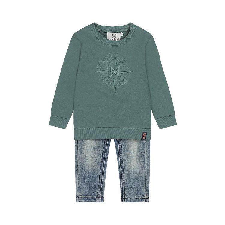 Koko Noko Jungen 2-teiliges Set Pullover grün mit blauer Jeans | F40877-37