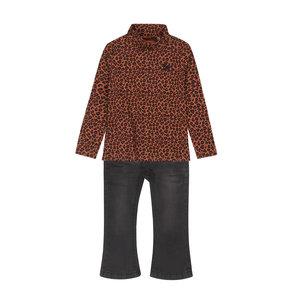 Koko Noko meisjes 2-delige set camel panter shirt zwarte jeans