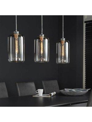 Alaska Hanglamp Titanium Glas, 3-Lampen Ø18cm