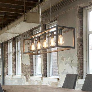 Alaska Hanglamp 5L rechthoek 4-kante buis