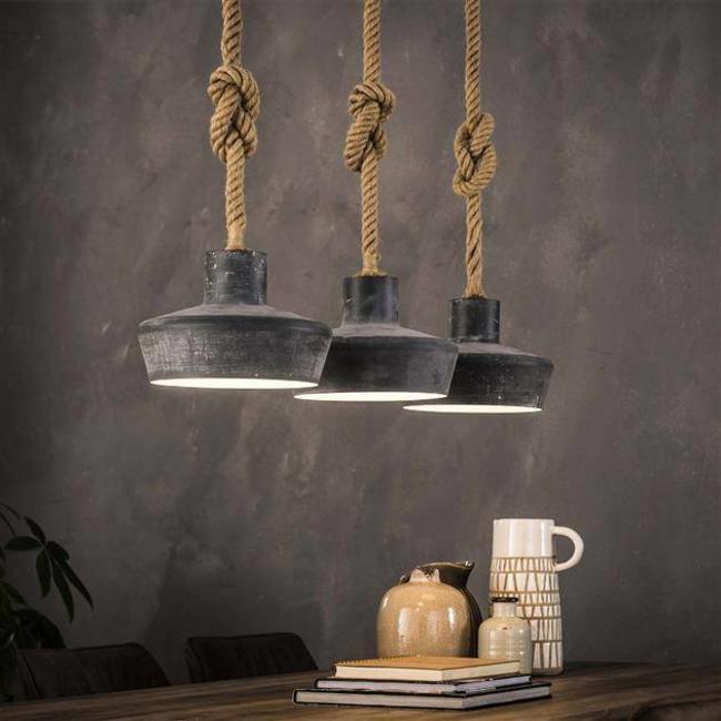 Hanglamp Met Touw.Alaska Hanglamp 3xo28 Betonlook Verstelbaar Touw Industrieel Wonen