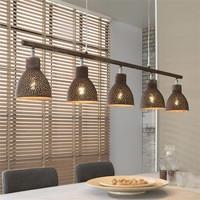 Hanglamp 5L aged iron bruin