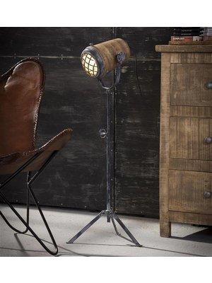 Alaska Vloerlamp iron houten kap L