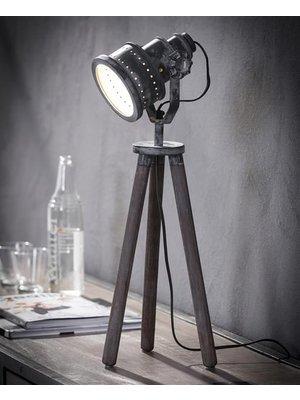 Alaska Tafellamp Iron Houten Driepoot