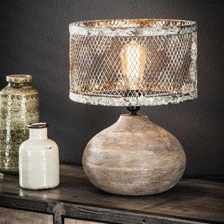Alaska Tafellamp massief houten bolle voet