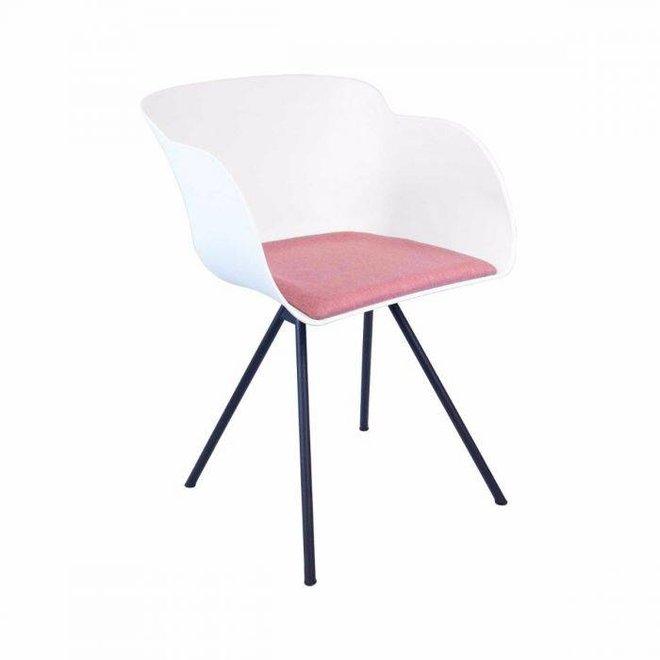 Eetkamer stoel Mace - wit/roze
