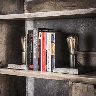 Alaska Tafellamp set/2 boekensteun antiek nikkel