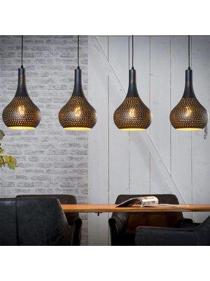 Alaska Hanglamp Punch Kegel Zwart, 4-Lampen