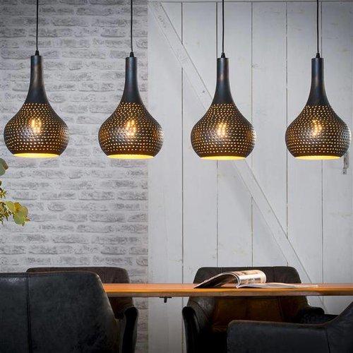 Alaska Hanglamp 4L industry concrete kegel zwart bruin