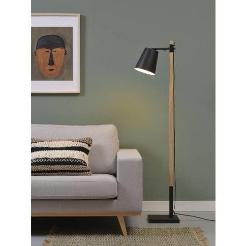 It's About RoMi Vloerlamp ijzer/essenhout Sydney, zwart/naturel