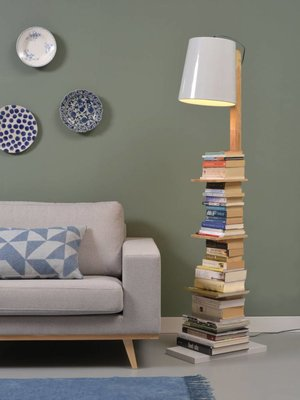 It's About RoMi Vloerlamp ijzer/Hout Cambridge boeken, naturel/wit