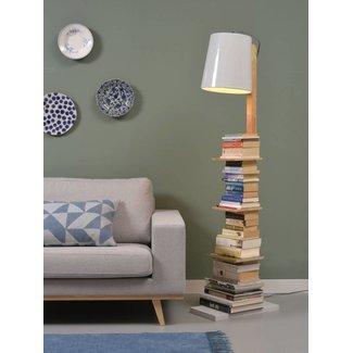 It's About RoMi Vloerlamp ijzer/Hout Cambridge boeken, naturel/wit