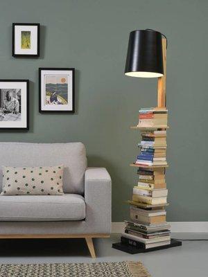 It's About RoMi Vloerlamp ijzer/hout Cambridge boeken, naturel/zwart