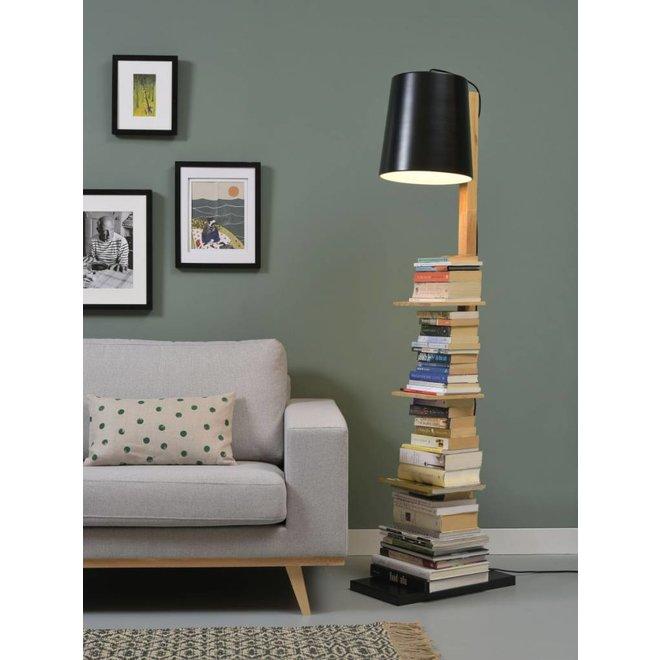 Vloerlamp ijzer/hout Cambridge boeken, naturel/zwart