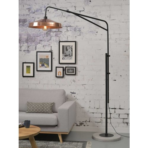 It's About RoMi Vloerlamp ijzer/cement Brighton mat zwart/kap Detroit, koper